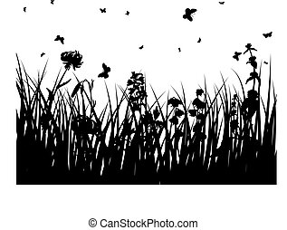 meadows plant silhouette - Grass silhouettes ornate on the...