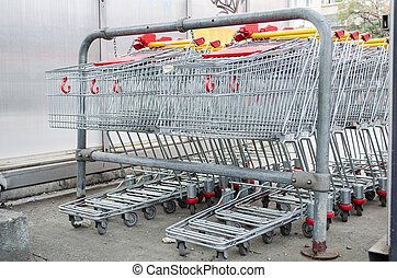 Shopping carts on a parking lot groups