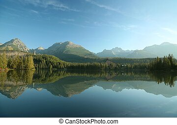 Lake surrounded by Tatra mountains