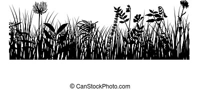meadow theme - Grass silhouettes ornate on the white...