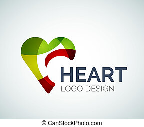 Love, heart, like, logo made of color pieces - Abstract...