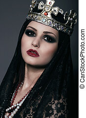 Face of Witch in Silver Crown with Jewels