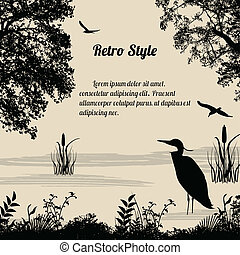 Heron silhouette on lake on retro style background, vector...