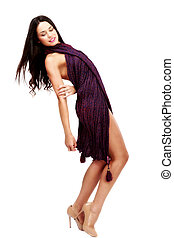 young beautiful caucasian brunette in improvised dress