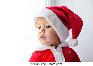 嬰孩, 看, 窗口, 聖誕老人