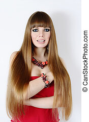 young woman with long hair - fashion young woman with long...