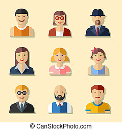 Flat avatar icons, faces, people icons badges