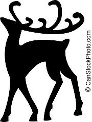 reindeer isolated on white - Black silhouette of Christmas...