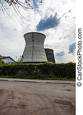 Cooling towers of the cogeneration plant in Kyiv, Ukraine