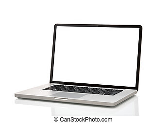 laptop, like macbook with blank screen. Isolated on white...