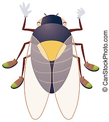Cicada - cartoon cicada isolate on a white background