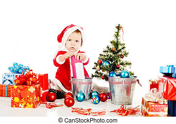 preparing for christmass - little Santa helper preparing for...