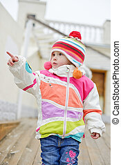 toddler girl point with finger - winter toddler girl point...