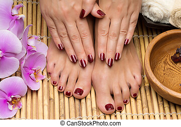 Pedicure and manicure in the salon spa, hand and feet care
