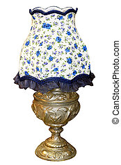Blue lamp - Vintage blue lamp isolated included clipping...