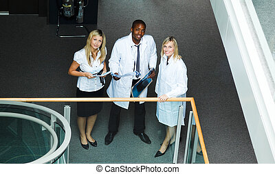 High view of a group of doctors standing in hospital