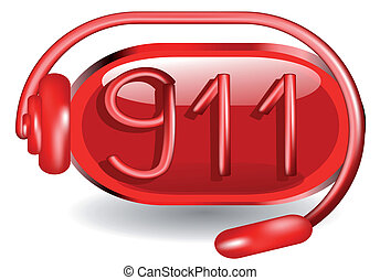 911 emergency abstract icon isolated on white