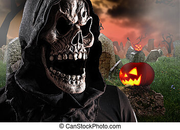 Grim reaper on a dark background, halloween background