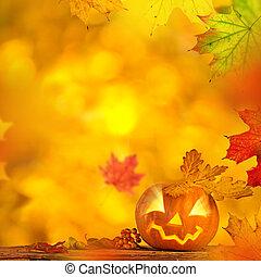 Scary jack o lantern halloween background, close-up