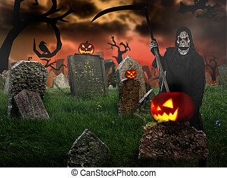 Grim reaper on graveyard, Halloween background