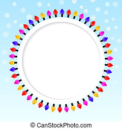 Festive blue background with frame of colored lights. Christmas.