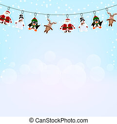Christmas blue background with a garland of paper reindeer,...
