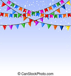 Winter blue background with a garland of paper flags. Vector ill