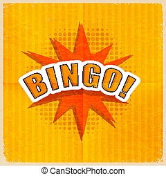 Cartoon Bingo on an old-fashioned yellow background Retro...