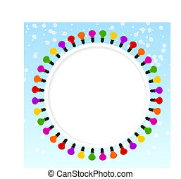 Festive blue background with frame of colored lights. Place for