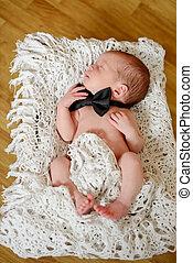 newborn gentleman - newborn boy wearing bow tie