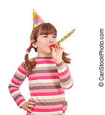 happy little girl with trumpet birthday party