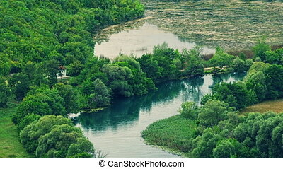 Krka river flow - Krka river stage of peaceful flow.