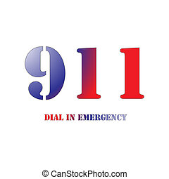911 Red and Blue - A Big 911 Red and Blue Symbol isolated on...