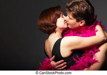 Close-up of a young couple kissing each other
