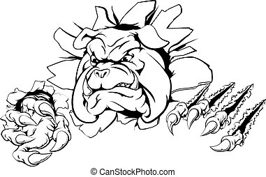 Bulldog claw breakthrough - A bulldog sports mascot or...