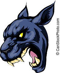 Panther mascot character - An illustration of a fierce black...