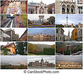 Collage of landmarks Budapest Hungary