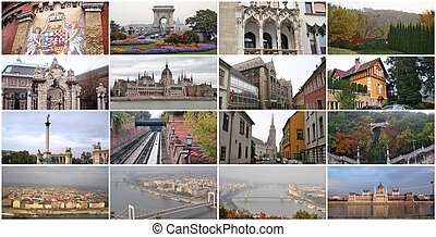 Collage of landmarks in Budapest Hungary