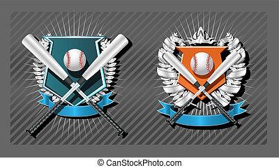 Baseball emblem - Blank Baseball emblem template with bat,...