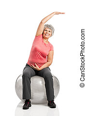 Fiitness old woman - Happy fitness old woman making...