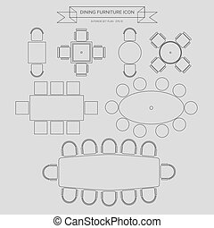 Dinning Furniture outline Icon - Dinning Furniture outline...