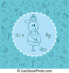 It's a boy greeting card. Vector illustration