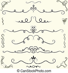 Set of calligraphic design elements and page decoration...