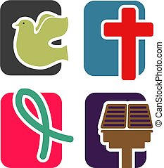 Christian Icon Set - A set of four, two color icons on the...