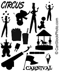 circus and carnival silhouettes - circus and carnival...