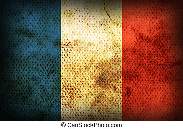 Weathered flag of France - Flag of France. Weathered burned...