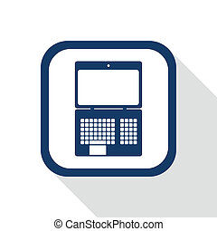 square blue icon laptop with long shadow - symbol of...
