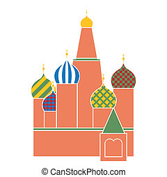 saint basil cathedral in red square in Moscow - symbol of Russia - flat design