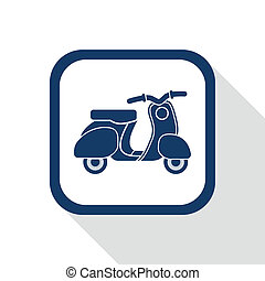 square blue icon retro no name scooter - symbol of transport...