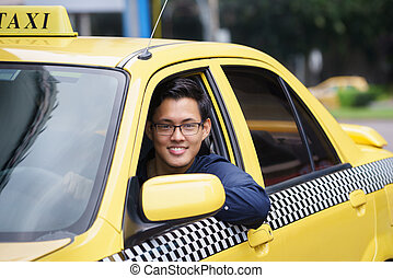 Portrait taxi driver smile car driving happy - Portrait of...